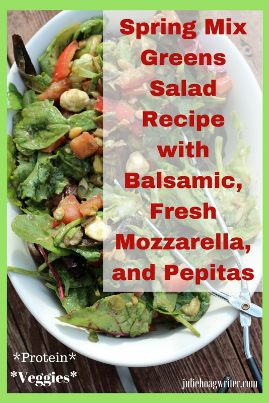 Spring Mix Greens Salad Recipe with Balsamic Fresh Mozzarella and Pepitas side dish for a family dinner or dinner party for guests. A protein filled salad with healthy vegetable lettuce greens, cheese, pepitas, tomatoes, and avocado. A delicious side salad for backyard entertaining for the family dinner table.