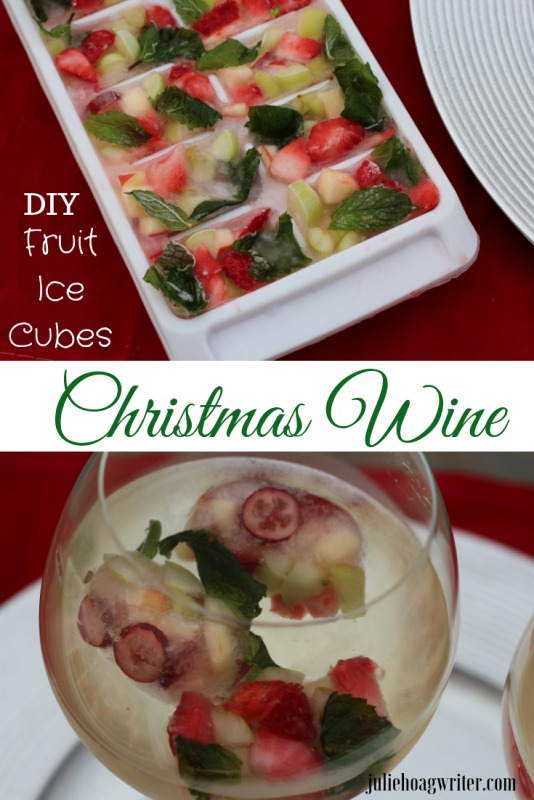 Festive Christmas Wine with DIY fruit ice cubes to make Holiday drinks. Red and green holiday cocktail. Holiday cocktails for a fun Crhistmas drink recipe. Non-alcoholic ice cubes for mocktails. 21+