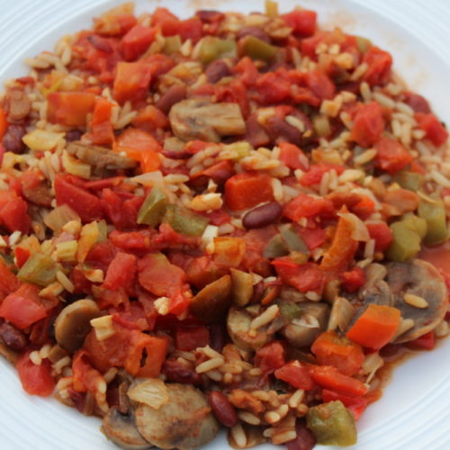 Cajun Julie's Hybrid Vegetarian & Meat Jambalaya. vegetarian recipe-vegetarian diet-meat eater diet- rice and vegetable dish