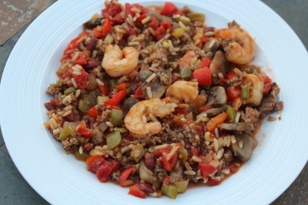 Cajun Julie's Hybrid Vegetarian & Meat Jambalaya vegetarian recipe-meat eater recipe-hybrd dish one recipe two diets
