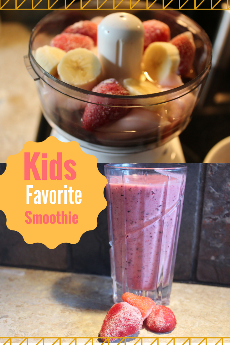 Kids favoritie smoothie recipe for breakfast, brunch, or snack. An easy recipe kids can make on their own in the kitchen. A fast easy recipe for breakfast before school.