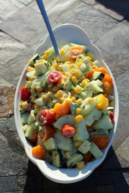 Easy Veggie Cilantro Lime Salad healthy side dish recipe with vegetables #salad #veggies #vegetables #vegetarianrecipes #dinnermeal #dinnertime #lunch #healthy #healthyrecipe #easyrecipes #easyrecipe #cilantro #lime #avocado #juliehoagwriter