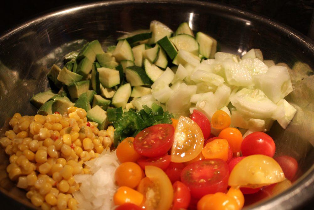 Easy Veggie Cilantro Lime Salad healthy side dish recipe #salad #sidedish #vegetables #veggies #healthyrecipe #easyrecipe #dinnertime