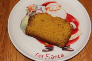 Reindeer Bread on Santa plate. Made with carrots and applesauce. A perfect snack and additon to Santa's plate.