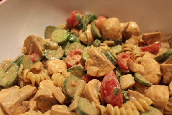 Balsamic Veggie Pasta Salad completed