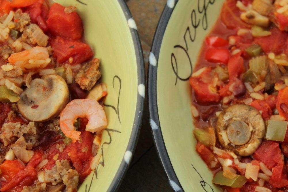 Hybrid Cajun Vegetarian, Shrimp, and Pork Jambalaya