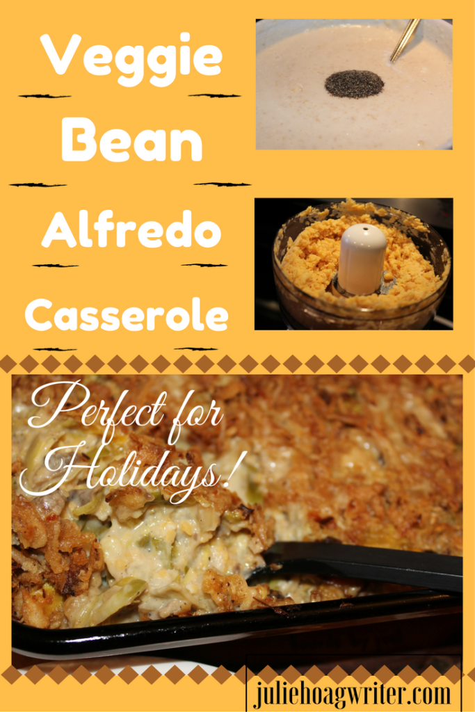Veggie Bean Alfredo Casserole made with lots of veggies and garbanzo beans. Bean Side Dish-Vegetarian Casserole-vegetarian recipe-vegetarian holiday comfort food-meatless recipe-meatless meal-Thanksgiving recipe-Christmas recipe-vegetarian dish-meatless side dish-bean recipe-vegetable side dish-savory recipe