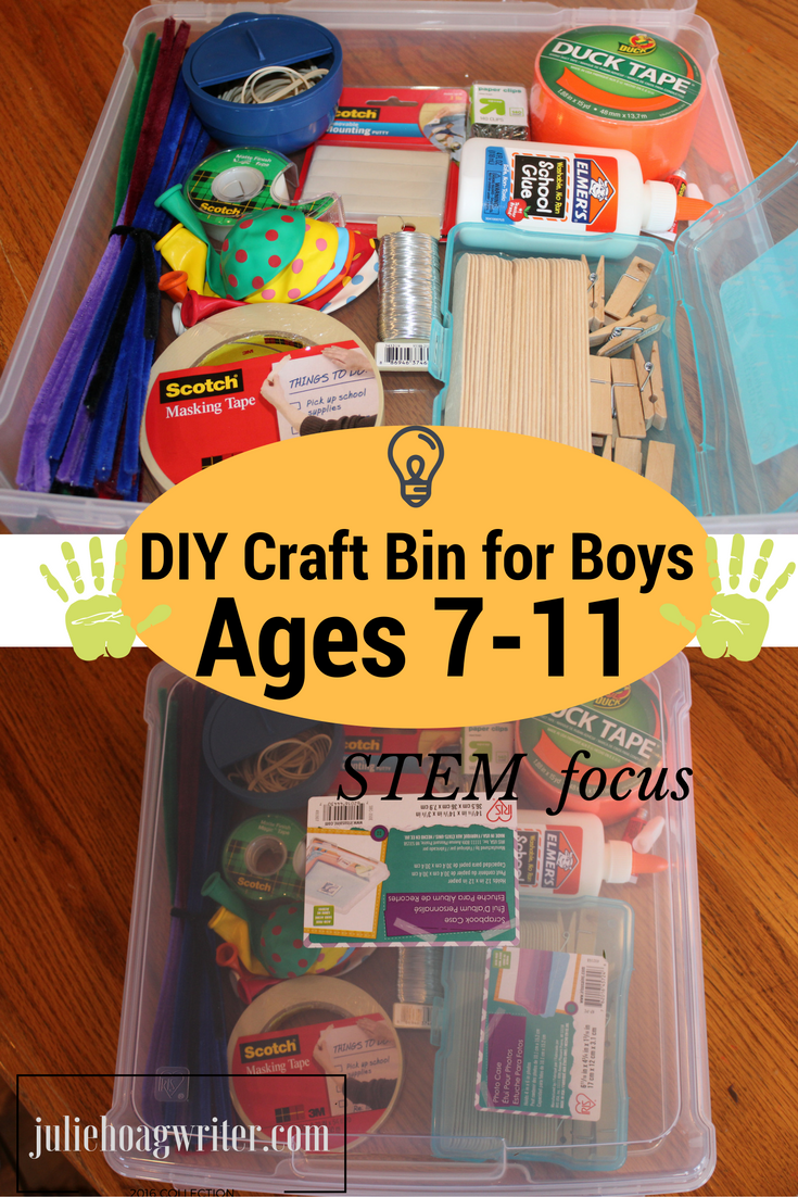 DIY Craft Bin for Boys Ages 7-11 STEM focus