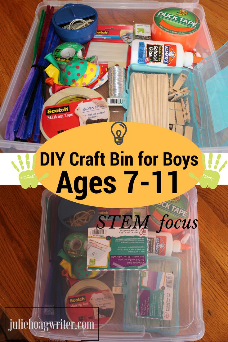 Diy craft bin with stem focus for boys ages 7 11 julie for Diy crafts for boys
