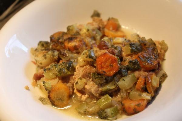 Bowl of Veggie Stew Casserole with Whole Wheat Dumplings