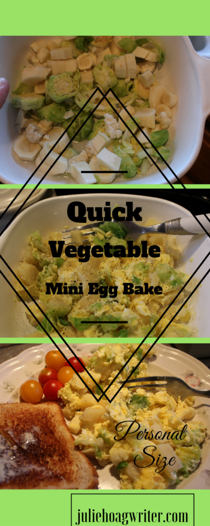 Quick Vegetable Mini Egg Bake...perfect for a single personal size meal! #recipe #Quick #breakfast #breakfastrecipes #brunch #quickmeals #easyrecipes #brunch #recipesforone #recipeforone #recipefor1 #microwave #eggs #eggbake #vegetarian #vegetarianrecipes