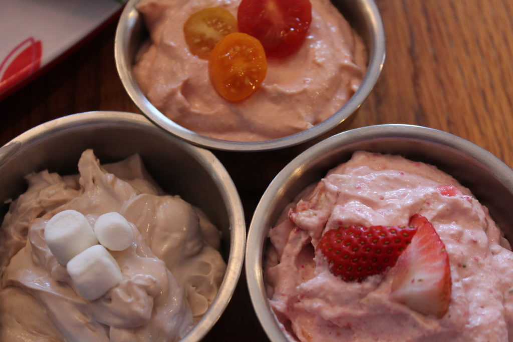 Flavored Cream Cheese Whipped Hot Chocolate, Strawberry Apple, and Tomato Chili cream cheese in bowls