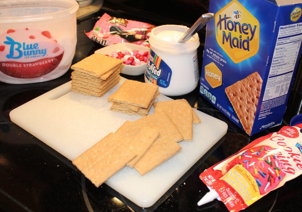 Ingredients for Easy DIY Valentine's Day Ice Cream Sandwiches, a fun kid in the kitchen activity! #valentinesday #sweettreats #sweets #dessert #icecreamsandwiches #kidsactivities #cookingwithkids #kidsinthekitchen #dessertrecipe