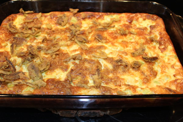 Pan of cooked Spicy Potato Egg Salad Bake