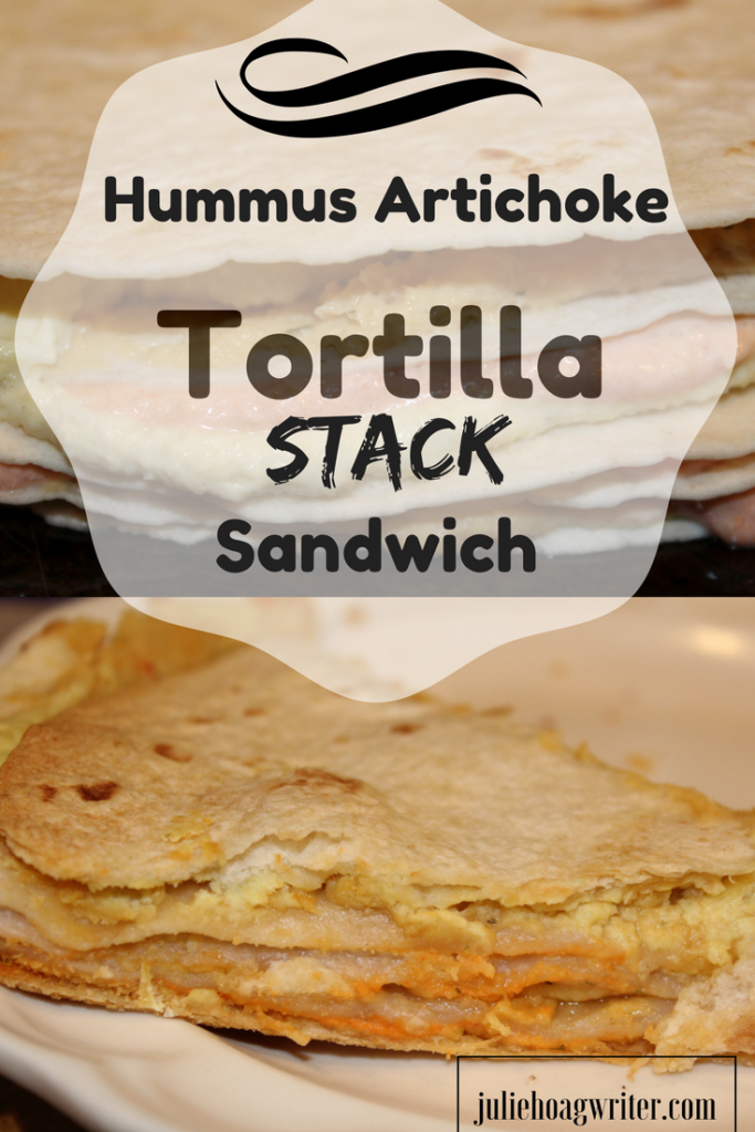 Hummus Artichoke Tortilla Stack Sandwich is a yummy layered sandwich made with delicious filing in between layers of tortillas. It is a unique fun to make vegetarian sandwich. Slice it smaller to make it as an appetizer.