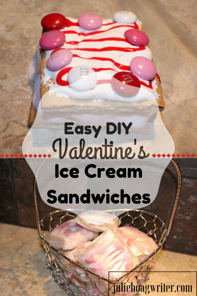Easy DIY Valentine's Ice Cream Sandwiches so #easy kids can make it on their own. A fun #kidsactivity they get to eat afterwards. #icecreamsandwiches #valentinesday #sweets #sweet #sweettreats #dessert #dessertrecipes #treats #icecream #kidsinthekitchen #cookingwithkids #yummy #kidsactivities #diyfood #easyrecipe #easyrecipes #makeahead
