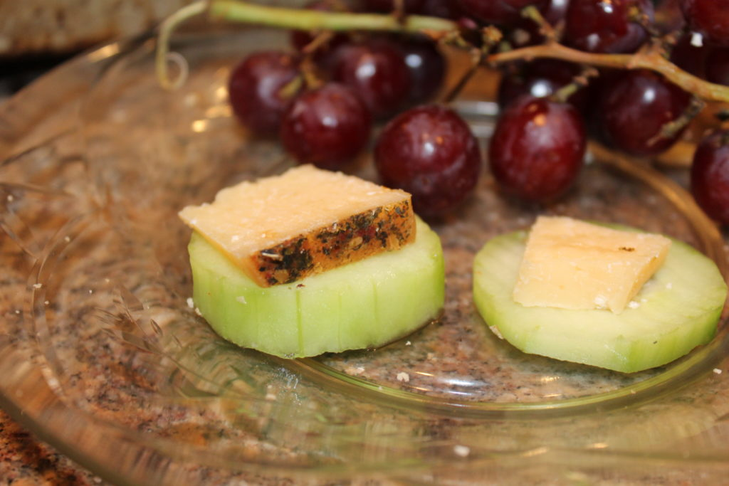 St. Urho's Day and wine club review. Tasty Carbohydrate Free Appetizer of cucumber slices topped with Mediterranean Parmesan Cheese