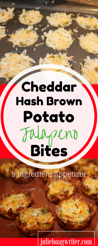Cheddar Hash Brown Potato Jalapeno Bites Appetizer Recipe. So easy! You will want to make this one over and over again. It requires only 5 ingredients. Perfect for party food, finger food, breakast, or brunch. #appetizer #appetizers #hashbrowns #potatoes #easyrecipe #partyfood #fingerfood #breakfastrecipes #brunchideas #sidedish