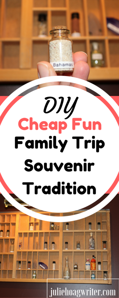 This DIY Cheap Fun Family Trip Sounvenir Tradition using vials and a shadow box is fun for the whole family. It is an inexpensive and easy way to accomplish family vacation souvenirs. family travel | family travel ideas | family vacation | DIY | family vacation ideas | family fun | souvenir