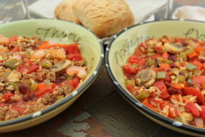 Hybrid Vegetarian and Meat Jambalaya recipe in my new ecoobkbook out later this fall. vegetarian-recipes. meat-recipes. hybrid-recipes-in-one-cookbook.