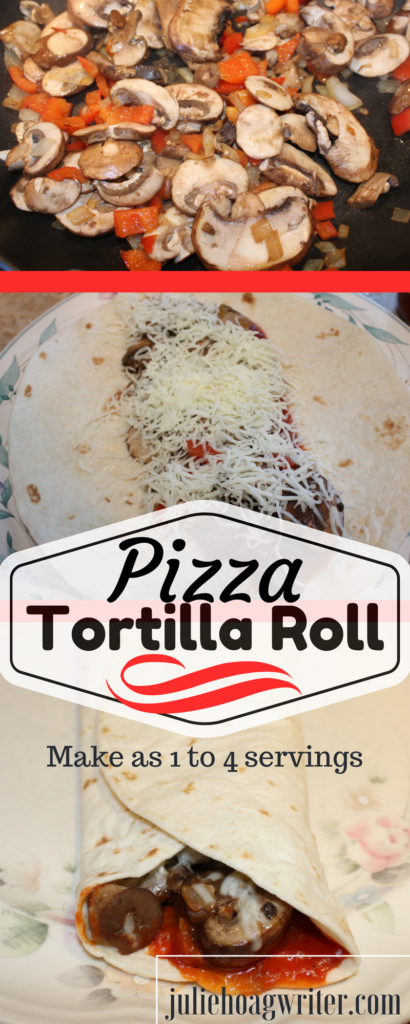 Pizza Tortilla Roll is an easy, simple recipe that can be made as a single serve meal or for up to 4 servings. This is perfect for the person craving pizza who wants a quick simple recipe to make pizza without having to make a crust. This is perfect for WAHM, individuals who work at home, or the person who needs meals just for themself. This meal can be customized and made for one to four people.