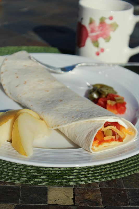 Simple Easy Quick 7 Ones Egg Burrito recipe. It takes seven ingredients in increments of one each to make it. It's simple, easy, and quick to make. Seven ones, now that is easy to remember. This recipe makes a single serve burrito or repeat for additional servings. #breakfastrecipes #recipesforone #eggs #burritos #vegetarianrecipes #easyrecipe #fastrecipe #quickandeasy #recipeideas #microwave #meatless #meatlessmonday #meatlessmondaynight #meatfreemonday #juliehoagwriter