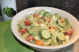 Veggie Avocado Egg Salad is a delicious salad made with veggies and eggs so it has lots of fiber and protein. It is an easy recipe to make with just seven ingredients.