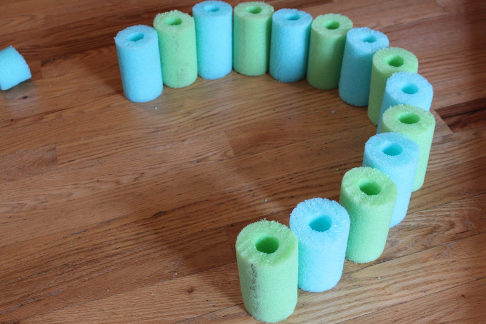 Create the pool noodle float ring pattern and lay it out.