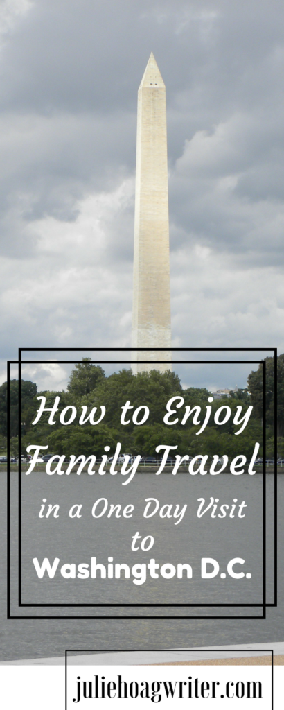 How to Enjoy Family Travel in a One Day Visit to Washington D.C. Do you think it's possible for a family with kids under the age of ten to do Washington D.C. in just one day? Our family of five saw more than I expected possible of Washington D.C. in just one day. I'm sharing my tips on how to enjoy family travel in a one day visit to Washington D.C.