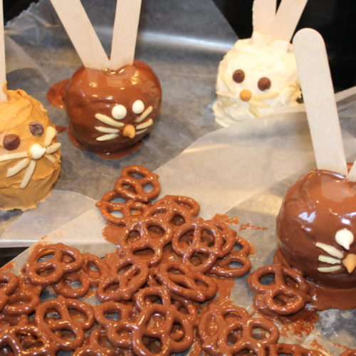 Dip to coat pretzels with any unused apple dip. Store in the fridge. Peanut Butter Butterscotched Apple Bunnies are a fun treat for Easter and spring. Similar to the classic caramel apples, these apples are spiral cut before being dipped. A sweet treat for kids and adults for Easter dinner or Easter brunch. #easterbunny #easter #eastercrafts #easterrecipes #apples #butterscotch #peanutbutter #sweettreats #sweettooth #dessertrecipes #dessertmasters #treats #juliehoagwriter #easterbrunch
