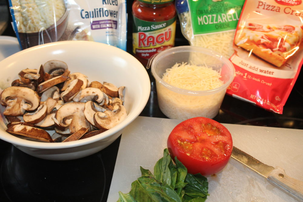 Ingredients for Hidden Cauliflower Crust Margherita Pizza