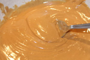 Microwave the apple dip ingredients until smooth.