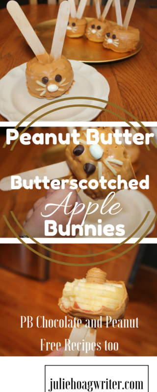 Peanut Butter Butterscotched Apple Bunnies are a fun treat for Easter and spring. Similar to the classic caramel apples, these apples are spiral cut before being dipped. A sweet treat for kids and adults for Easter dinner or Easter brunch. #easterbunny #easter #eastercrafts #easterrecipes #apples #butterscotch #peanutbutter #sweettreats #sweettooth #dessertrecipes #dessertmasters #treats #juliehoagwriter #easterbrunch