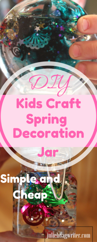 Looking for a cheap kids craft activity that is easy to make, simple, and quick with little mess? Try my DIY Kids Craft Spring Decoration idea. It requires only a few supplies and the shine and sparkle it gives off brings smiles of joy to kids' faces. My boys made these jars in about twenty minutes and had an absolute blast. This would be a great spring break activity, Easter activity, or spare time activity kids will certainly enjoy. I love the simple ingredients because I'm a busy mom and simple fits our busy lifestyle the best.