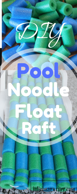 DIY Pool Noodle Float Raft perfect for pool or lake swimming. Make it using newly purchased pool noodles or use portions of your own noodles that are still in good condition without cracks. Kids can help design the raft and help make it. It is cheap and easy to make. Design your own customized design and colors. This is a fun and unique craft for swimming.