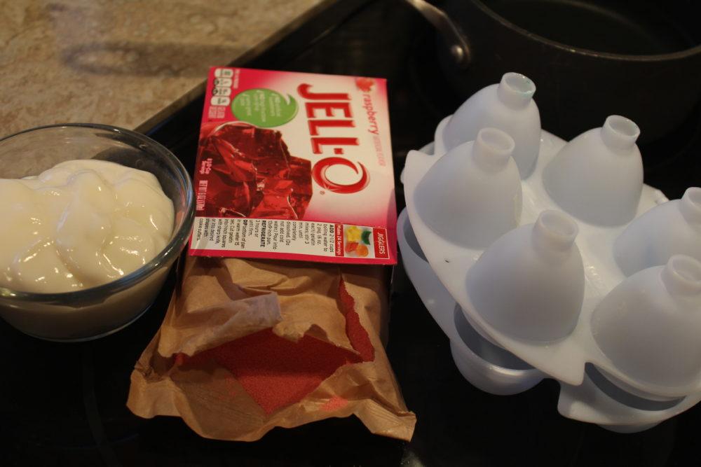 Ingredients for Yogurt Jello Easter Eggs