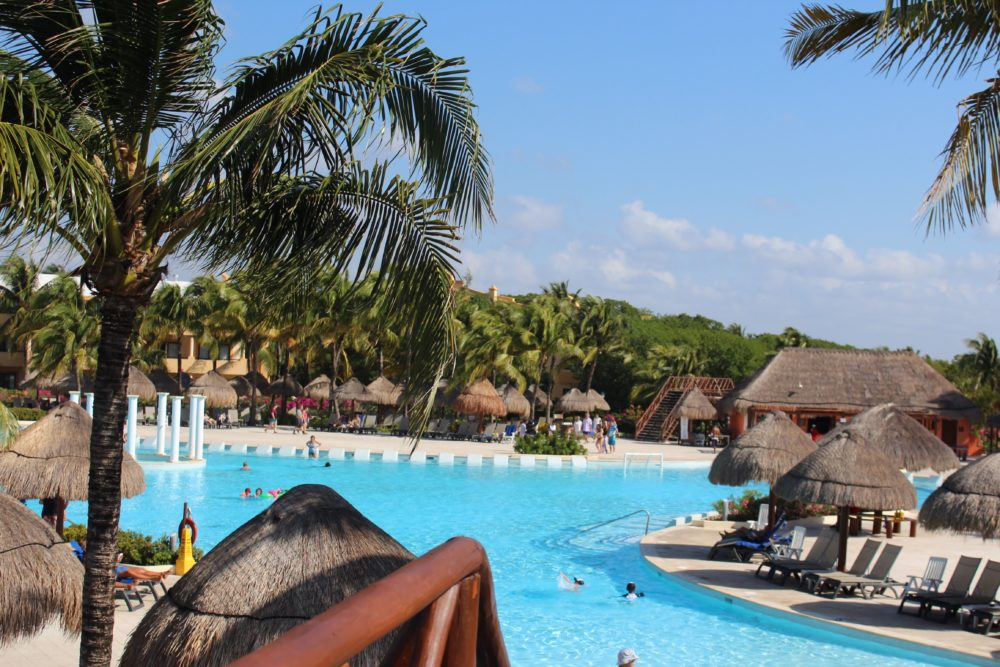 One of the large pools at resort. Palladium Resort Riviera Maya, Mexico. All-inclusive resort. Family travel options.