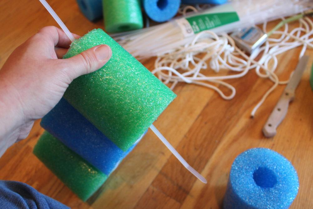 String zip tie through