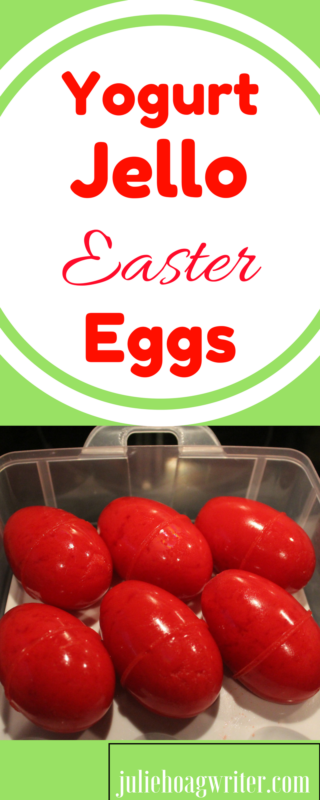 Yogurt Jello Easter Eggs is an easy recipe your family will enjoy on Easter. This is a super easy recipe that will add some fun color and tasty flavor to your Easter holiday spread. Add this to your table and your kids will gobble them up. They are a gorgeous color red using cherry or raspberry, or use multiple colors. #jello #jellocreations #easter #eastereggs #easterrecipes #brunch #breakfastrecipes #juliehoagwriter