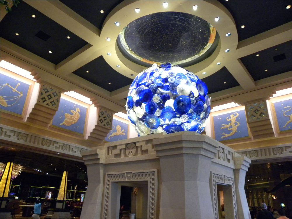 Blue glass sculpture at Atlantis Bahamas