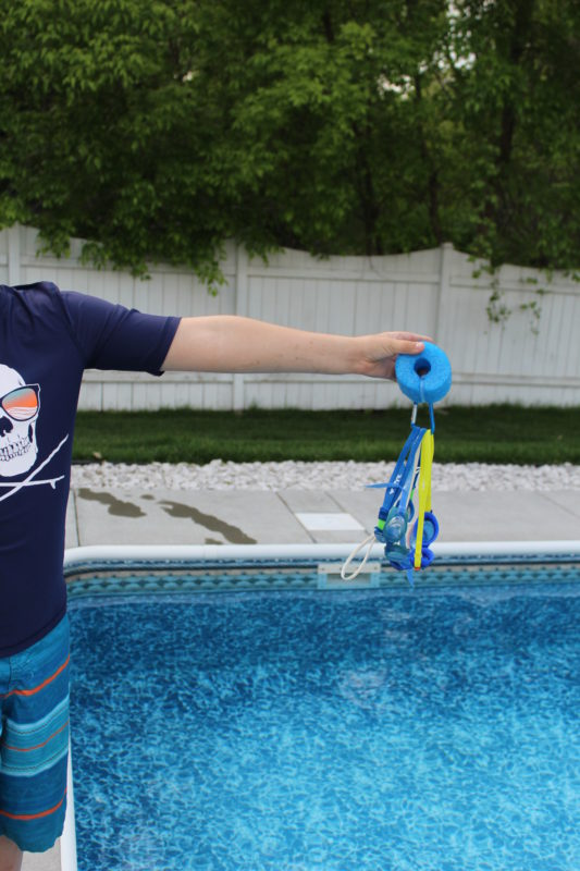 DIY Pool Noodle Goggle Float can keep multiple goggles afloat