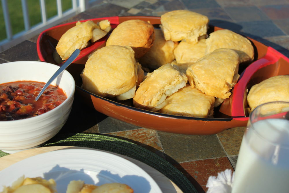 Easy Potato Biscuits recipe made in a roaster oven. A perfect carbohydrate to have with a vegetarian chili. #biscuits #potatoesandbiscuits