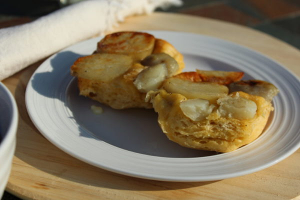 Easy Potato Biscuits smeared with butter. Tasty with my Easy Swee Bean Chili recipe. Biscuits with potatoes cooked in a roaster oven. Easy bread recipe