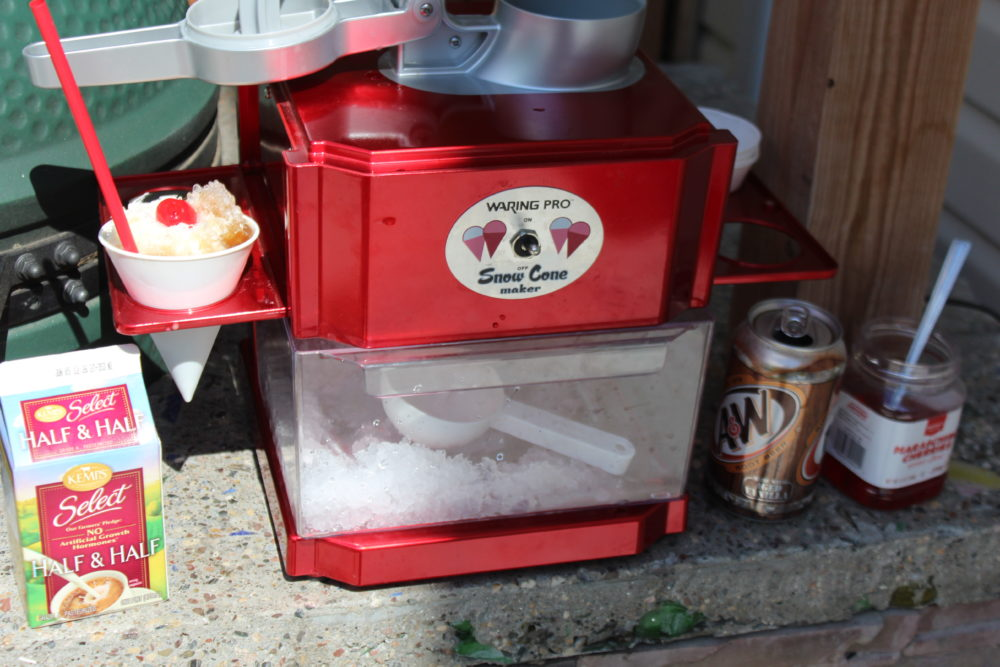 Snow Cone Machine and supplies for Root Beer Float Snow Cone. Sweet summer treat.