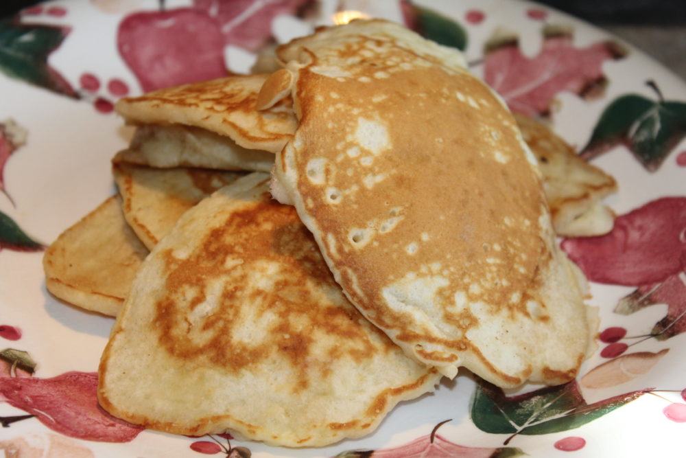 Stack of Easy Homemade Comfort Food Butter Pancakes an easy recipe for breakfast or brunch. This recipe is made without oil and it is a quick prep and a fast meal to prepare for busy families. #breakfastrecipes #breakfastlovers #brunch #brunchideas #easyrecipes #butter #comfortfood #pancakes #homemade #homemaderecipes #juliehoagwriter #familyfavorites