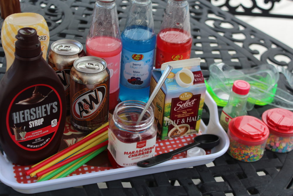 Supplies for Root Beer Float Snow Cone Bar