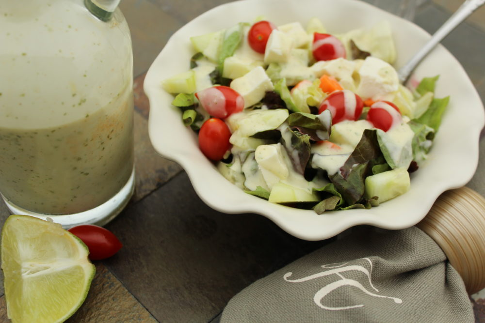Tangy-Homemade-Cilantro-Lime-Salad-Dressing with yummy salad recipe. #EasyRecipes #saladdressing #saladrecipe #vegetarian #sidedish