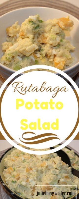 Rutabaga Potato Salad is a delicious twist on a classic side salad. Potato salad | potato salad recipe | potato salad egg | potato salad easy | salads | cold salads | cold salad recipes | vegetarian potato salad | rutabaga recipes | salad recipe | vegetarian recipes | vegetarian potato recipes | salads for parties | salad recipes healthy | homemade salads | cold salad recipes | cold salads for a crowd | cold salads easy @juliehoagwriter