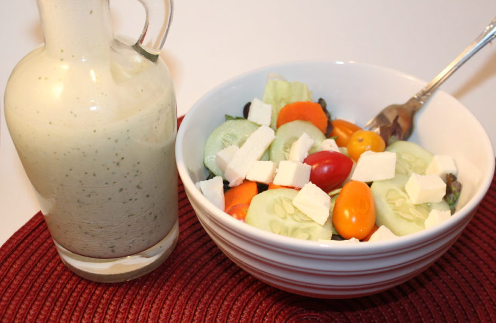 Tangy Homemade Cilantro Lime Salad Dressing with salad