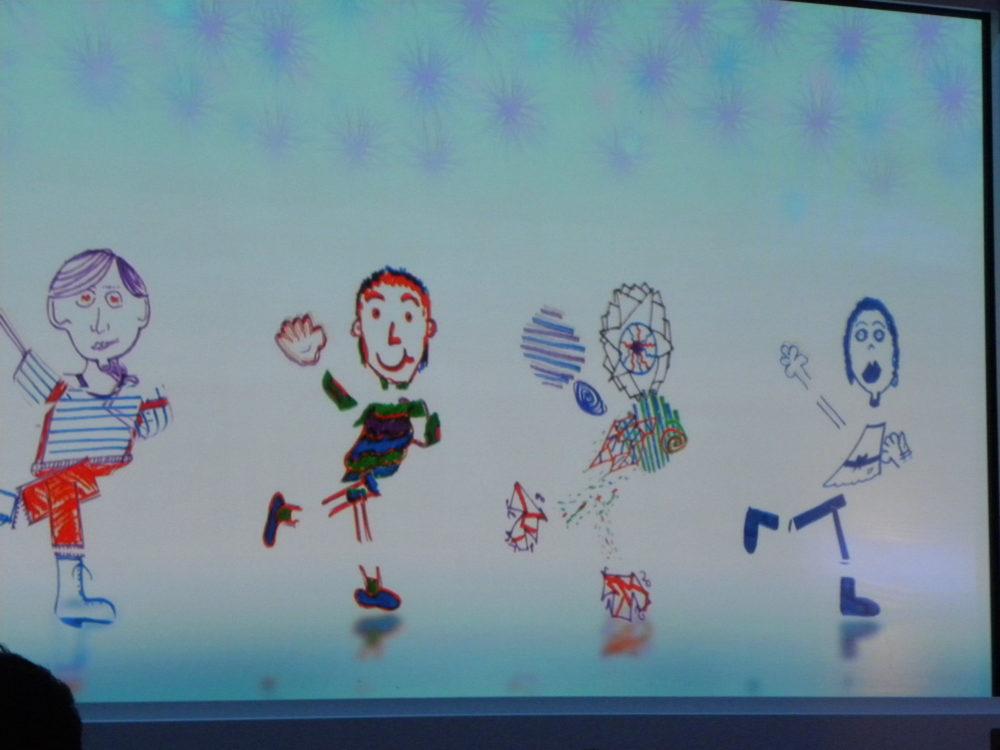 Animated drawings on wall at Animators Palate